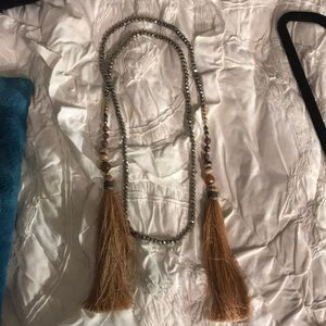 Free people silver beaded Necklace / belt